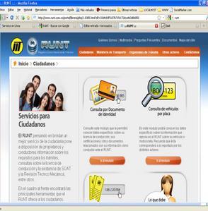 Página principal para consultas en el RUNT | www.runt.com.co/portel/libreria/php/1.0305.html