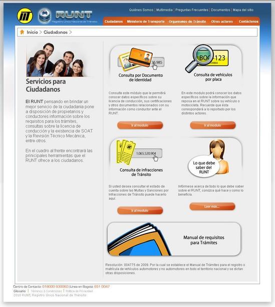 Captura de pantalla del RUNT Consultas en Colombia
