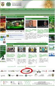 Vista de www.policia.gov.co - Opción Documentos extraviados