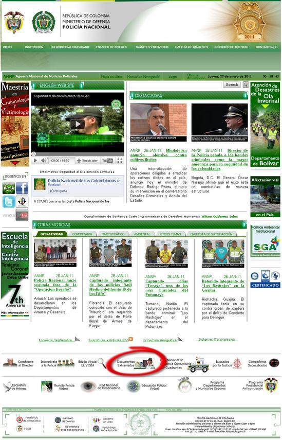 denunciar documentos u objetos perdidos en internet www policia gov co