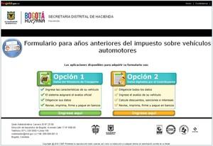 Opciones Formulario de Liquidación de Impuestos Vehículos en Bogotá, Secretaría Distrital de Hacienda