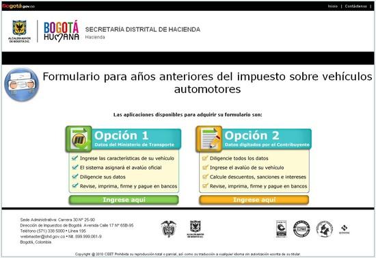 Formulario en Línea de Liquidación de Impuestos Automotores Bogotá, Cundinamarca