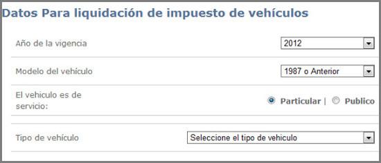Liquide el formulario de pago de impuestos de vehículos en bogotá