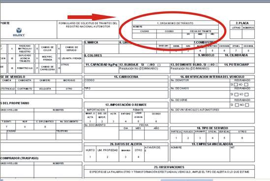 diligenciar formulario unico nacional de transito