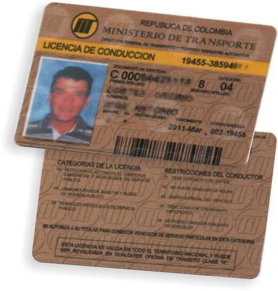 Formato antiguo para licencias de servicio publico