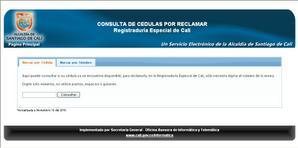Vista sitio web www.cali.gov.co. Para saber si se puede reclamar la cedula