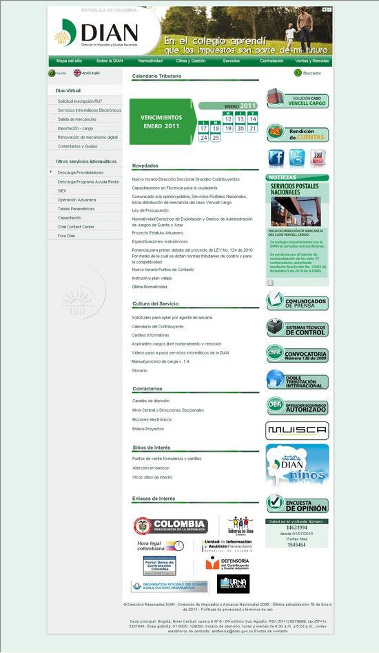 Opcion de solicitud de inscripcion RUT - DIAN COLOMBIA