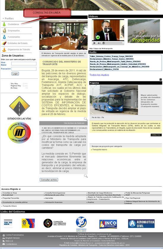 sitio mintransporte para las consultas en linea