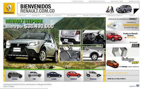 Vista de www.renault.com.co | Pagina inicial o Home
