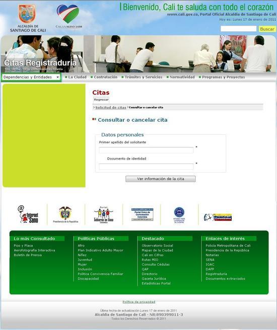 sitio oficial de consulta y cancelacion de citas de la registraduria cali