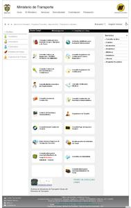 Vista de la pagina web de mintransporte.gov.co