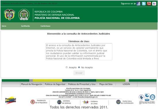 Consultar Pasado Judicial - Captura Sitio Web de La Policia Nacional de Colombia