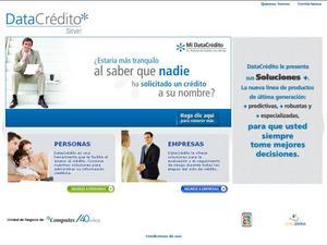 Vista de www.datacredito.com.co | Página inicial o Home