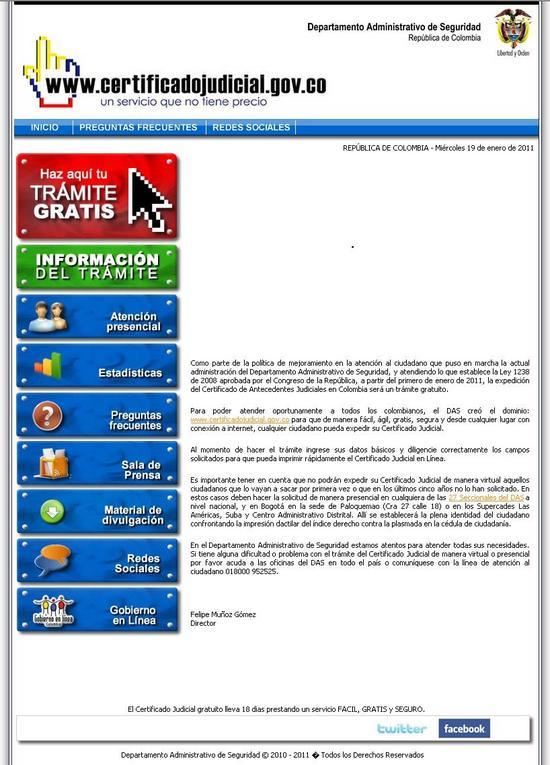 Captura de pantalla del Certficado Judicial en Internet del DAS