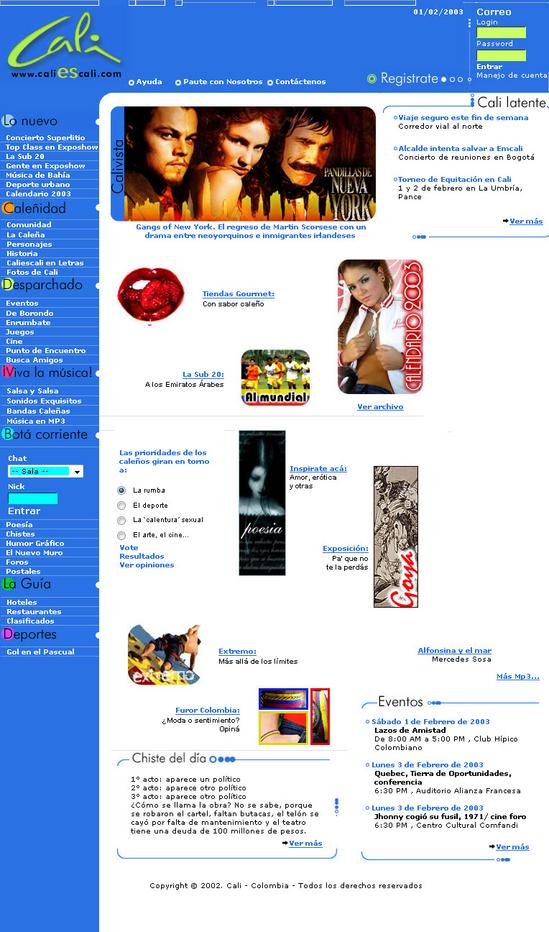www.caliescali.com - portal enero 2003