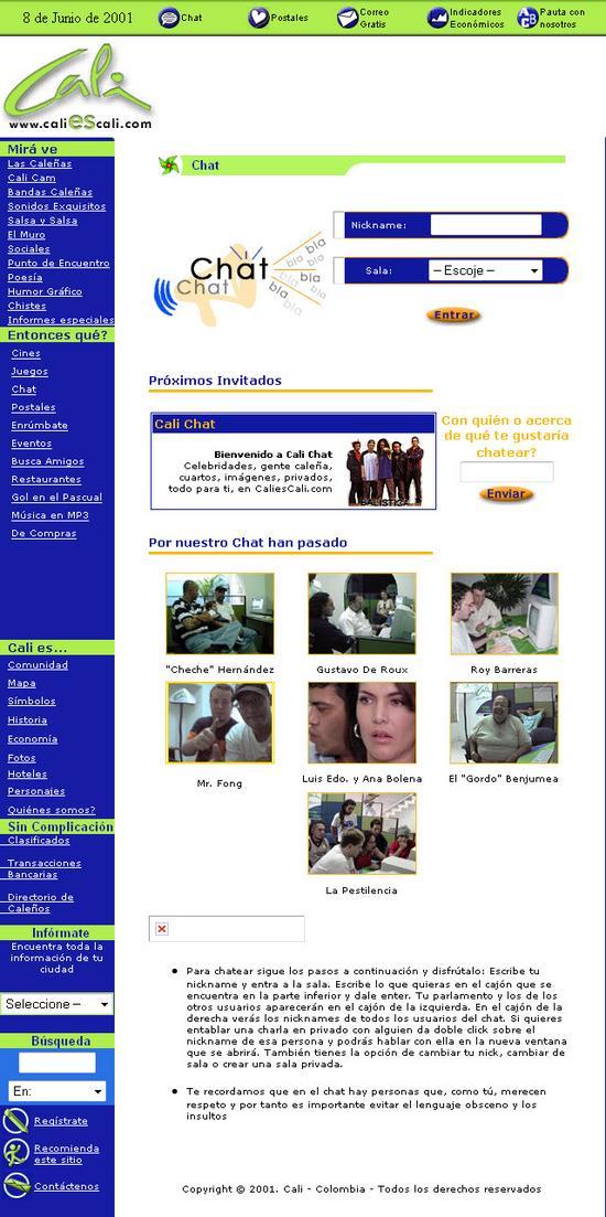 Sección Chat de CaliEsCali