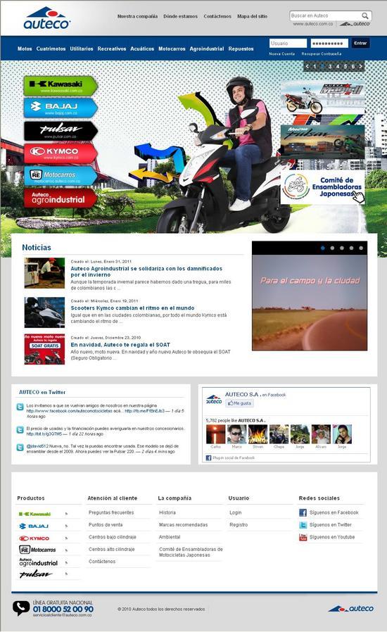 Vista de www.auteco.com.co | Pagina web o home