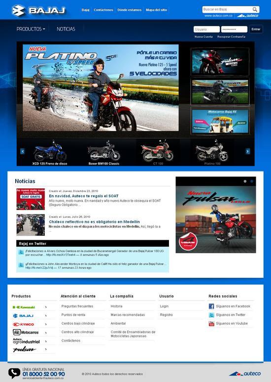 Vista de www.bajaj.com.co | Pagina web o home