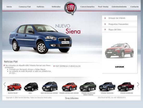 Vista de www.fiat.com.co   Pagina web o Home