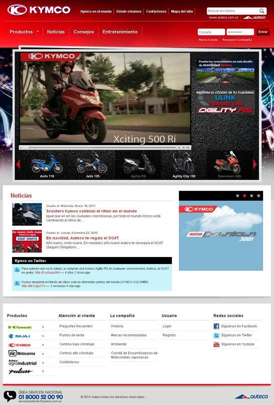 Vista de www.kymco.com.co | Pagina web o home