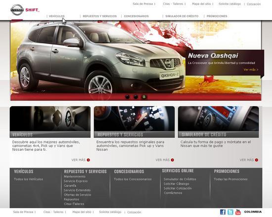 Vista de www.nissan.com.co | Pagina principal o home