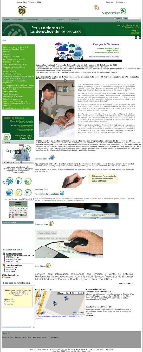 Vista de www.supersalud.gov.co | Pagina web o Home