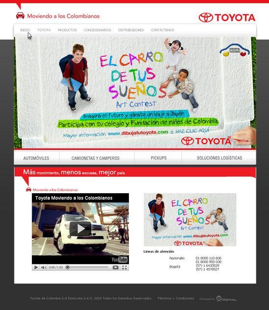 Vista de www.toyota.com.co   Pagina inicial o Home
