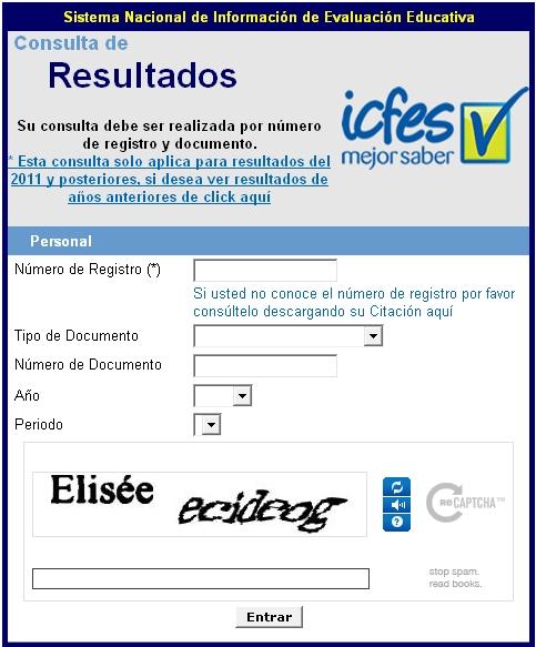 Consultar Resultados Pruebas ICFES SABER 2011