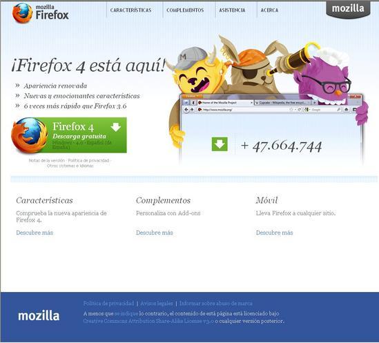 Vista de www.mozilla.com/es-ES/Firefox | Pagina Web o Home