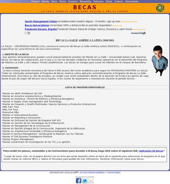Vista de www.altillo.com-becas-lasalleal.asp | Pagina web o Home