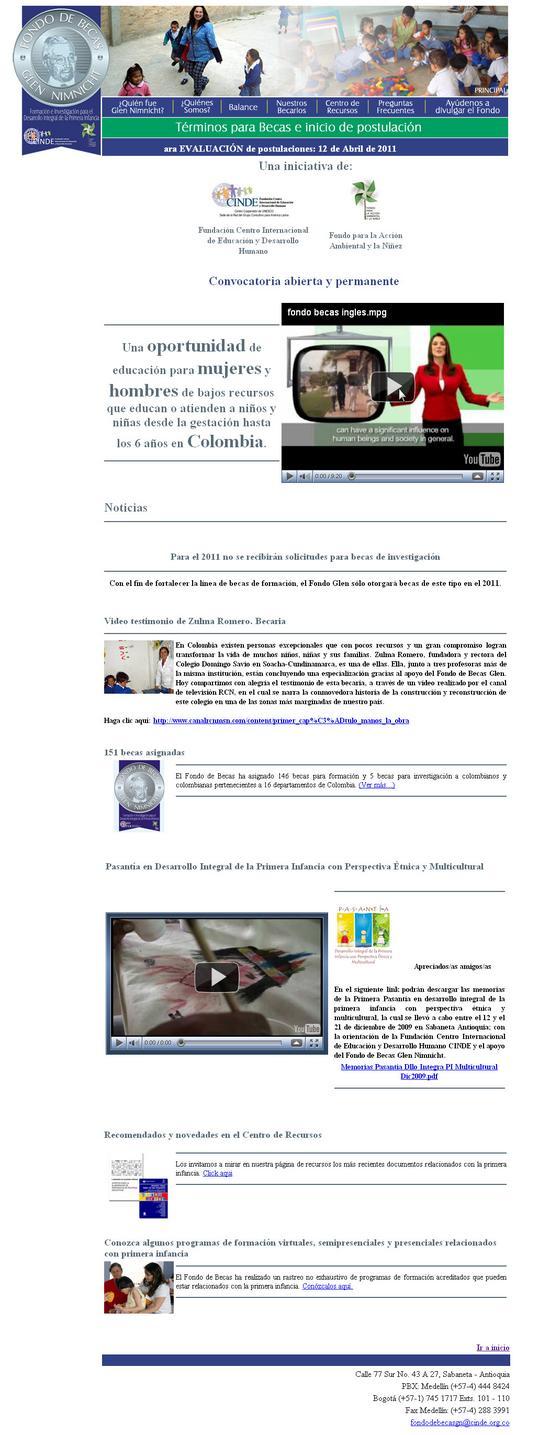 Vista de www.cinde.org.co-fondodebecasgn.htm | Pagina web o Home
