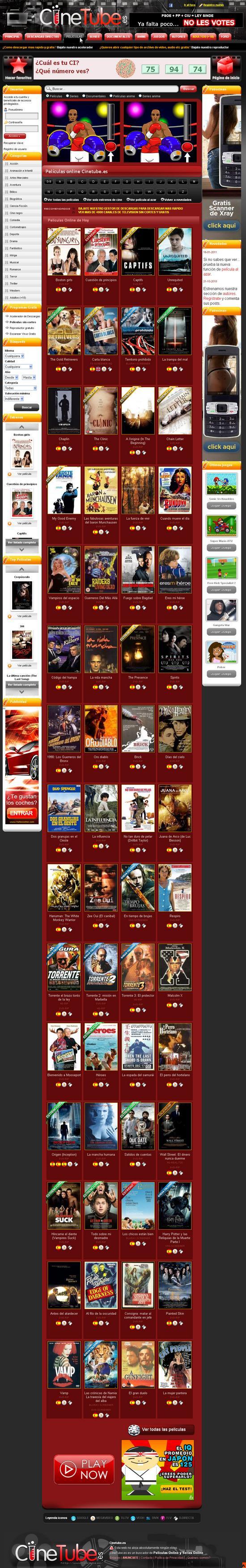 Vista de www.cinetube.es   Pagina principal o Home