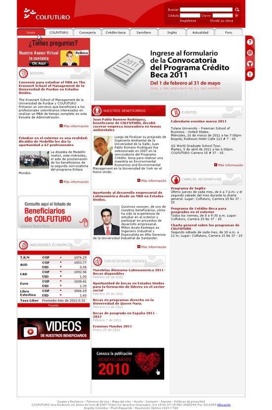 Vista de www.colfuturo.org | Pagina web o Home
