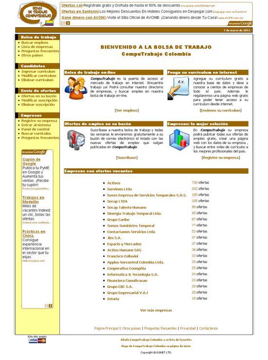 Vista de www.computrabajo.com.co   Pagina Web o Home
