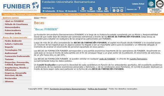 Vista de www.funiber.org | Pagina web o Home