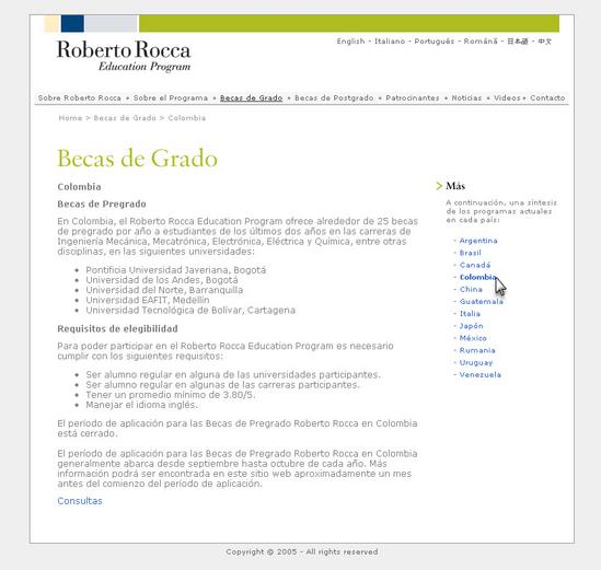 Vista de www.robertorocca.org | Pagina web o Home