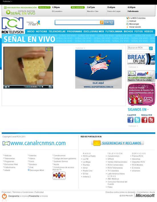 sitio web de canal RCN en vivo
