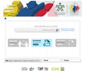Vista de sitio web de www.colombianostrabajando.sena.edu.co