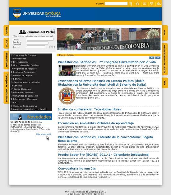 Vista de www.ucatolica.edu.co | Pagina Web o Home