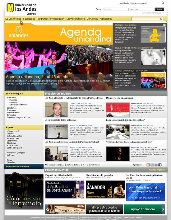 Vista de www.uniandes.edu.co | Pagina Web o Home