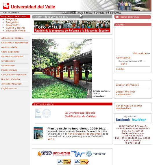 Vista de www.univalle.edu.co | Pagina web o Home