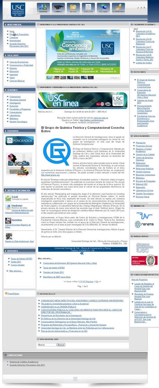 Vista de www.usc.edu.co | Pagina Web o Home