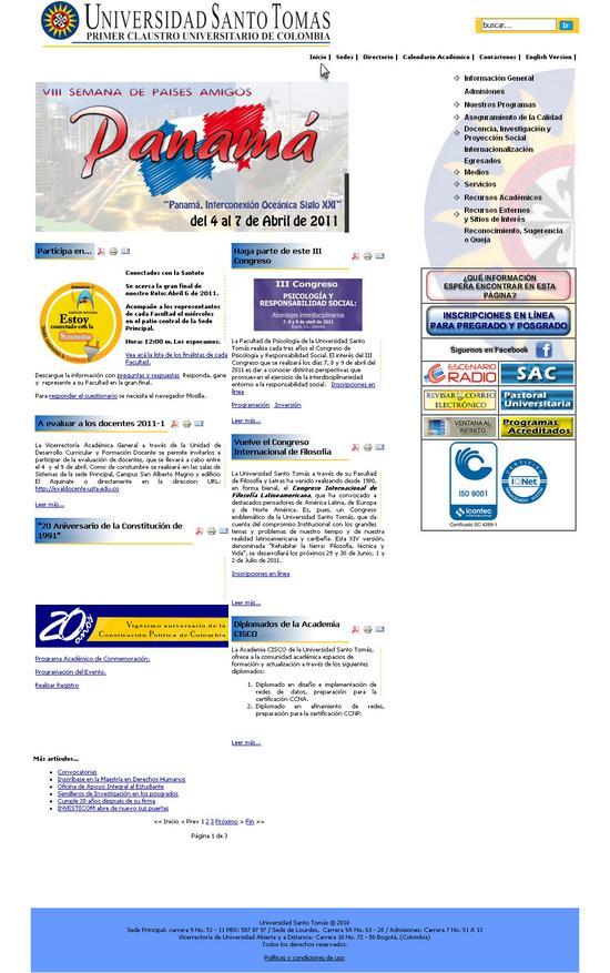 Vista de www.usta.edu.co   Pagina oficial o Home