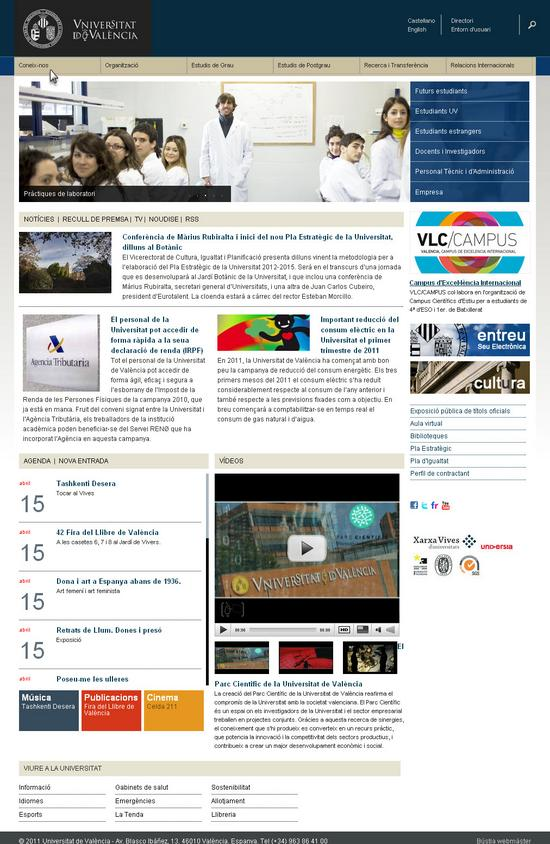Vista de www.uv.es | Pagina Web o Home
