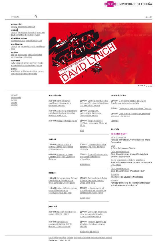 Vista de www.udc.es | Pagina Web o Home