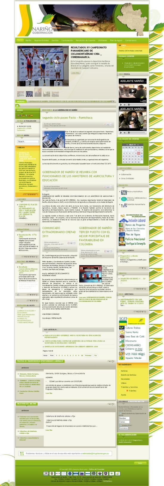 Sitio oficial gobernación de Nariño
