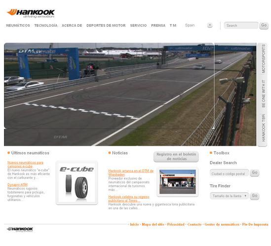 Vista de www.hankooktire-eu.com/es | Pagina Web o Home