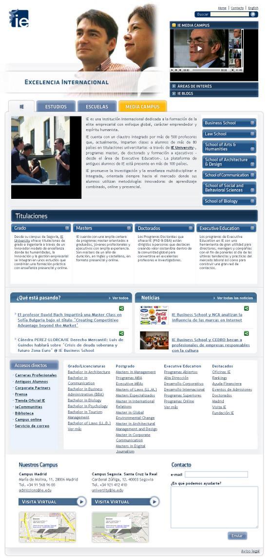 Vista de www.ie.edu | Pagina Web o Home