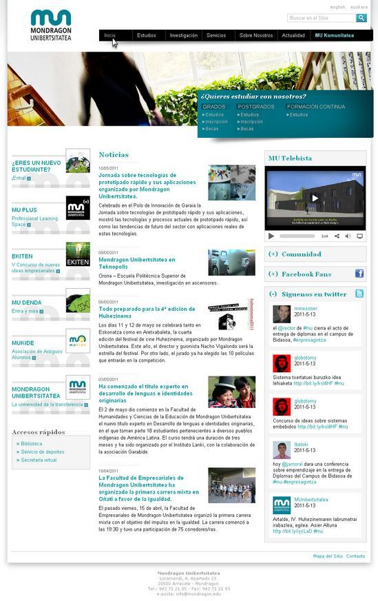 Vista de www.mondragon.edu | Pagina web o Home