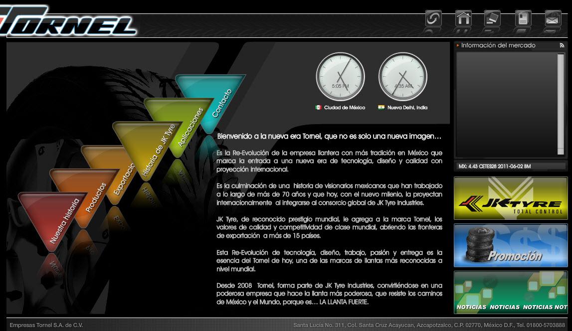 Vista de www.tornel.com.mx   Pagina Web o Home